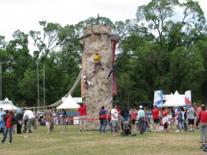 Climbing wall at a festival